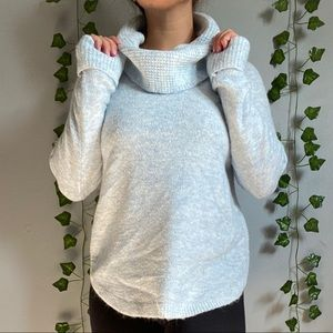Ice blue Knit Cowl Neck Sweater